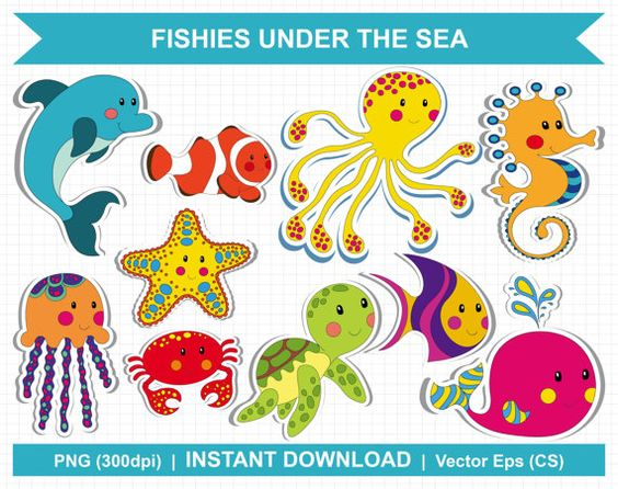 Digital Clipart Fish Under The Sea / Sealife by clipartresources.