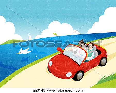 Stock Illustration of Illustration of a young couple driving by.