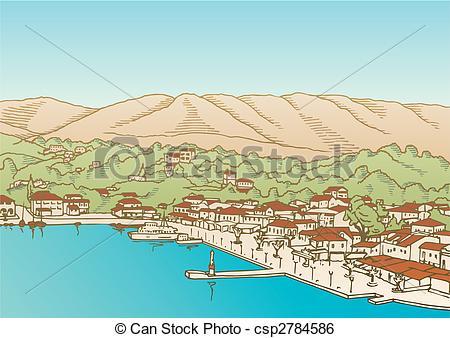 Clip Art Vector of Village by the sea vector.