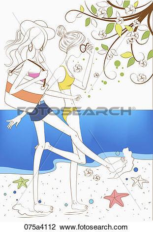 Clip Art of women walking by the sea 075a4112.