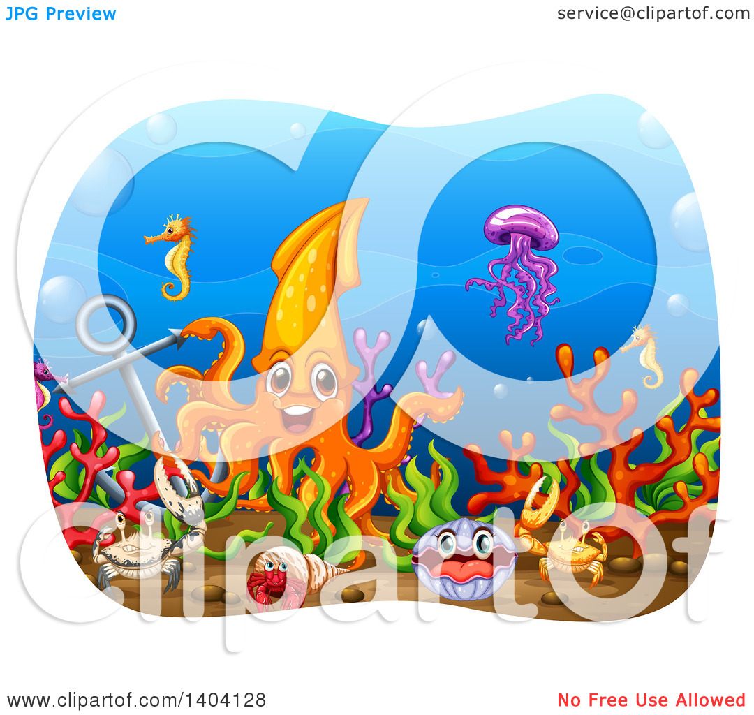 Clipart of a Squid and Sea Creatures by an Anchor Under the Sea.