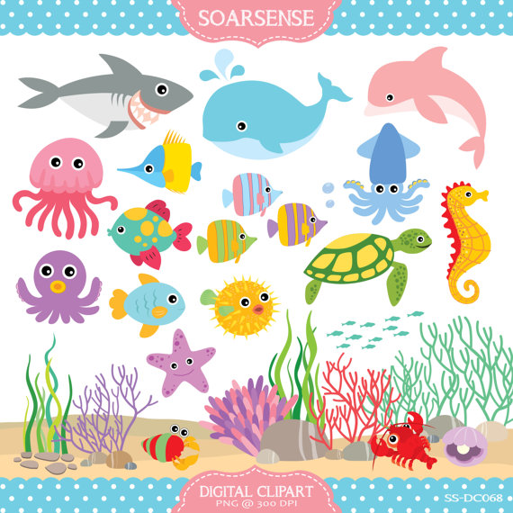 Under The Sea Clipart by soarsense on Etsy, $5.00.