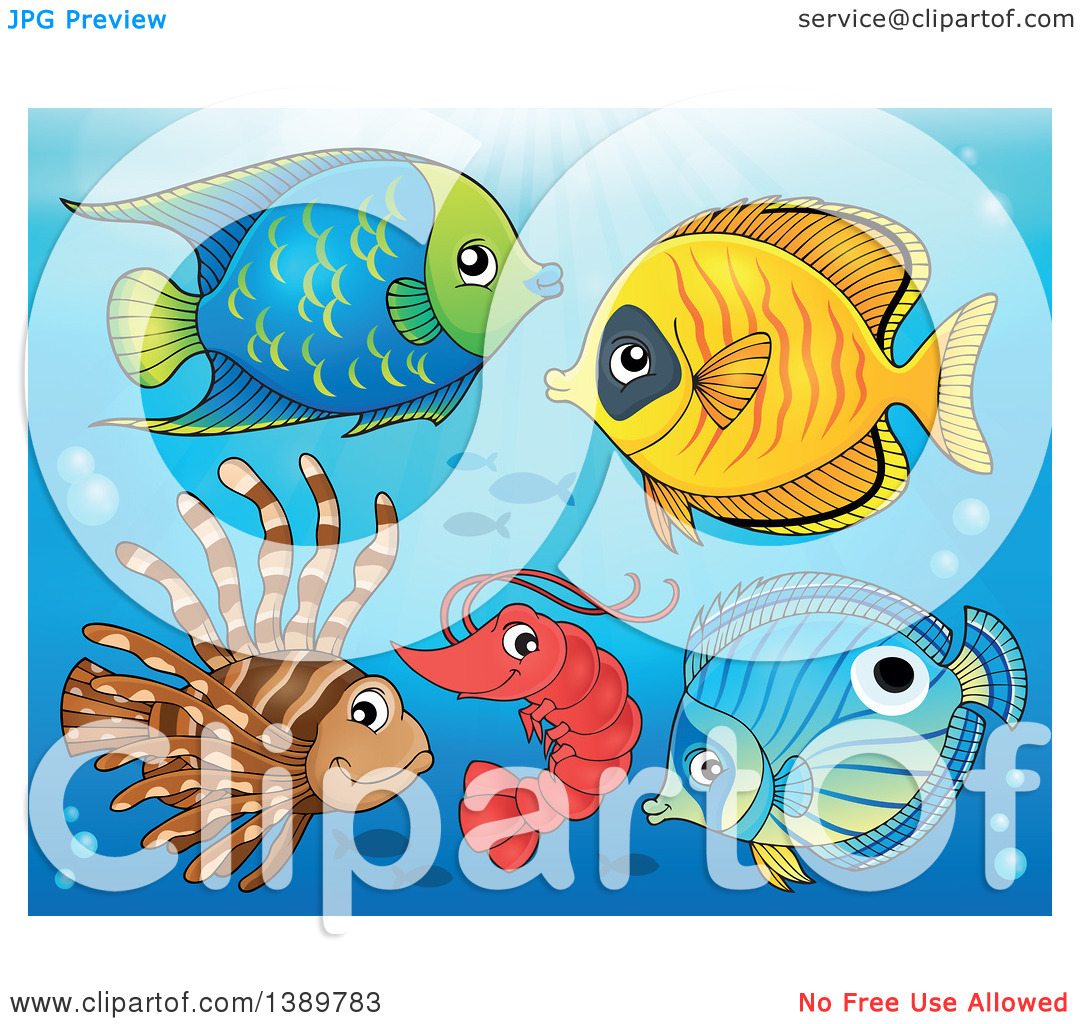 Clipart of Marine Fish Under the Sea.