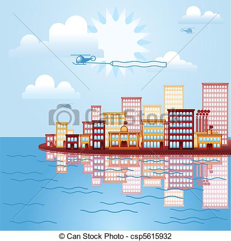 EPS Vector of The city by the sea.