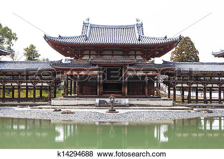 Pictures of Byodoin Temple in winter season, Japan k14294688.