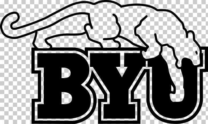 Brigham Young University BYU Cougars football Black and white Logo.
