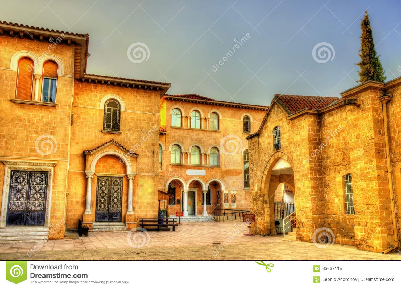 Byzantine Museum And Archbishop Palace In Nicosia Stock Photo.