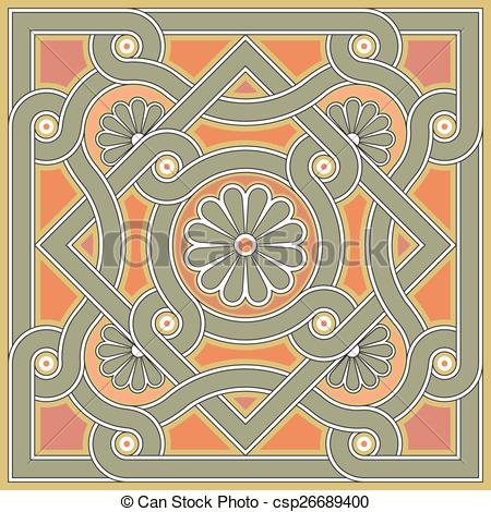 Vector Clipart of Byzantine decorative rosette.