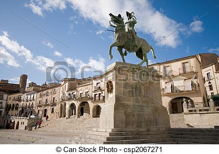Stock Photography of Mayor Square in Trujillo. Caceres, Spain.