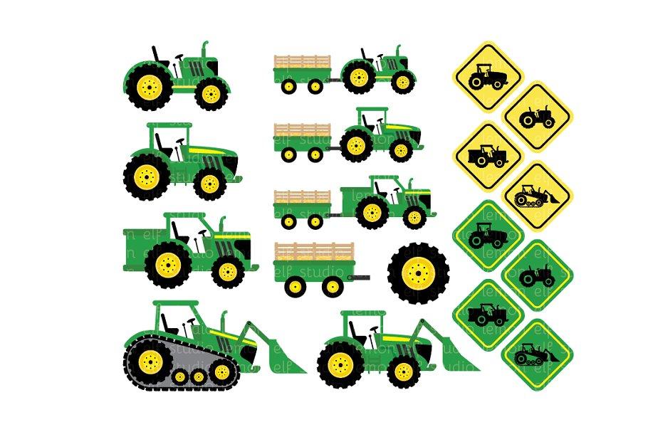Green Tractors Clipart (LES.CL19A).
