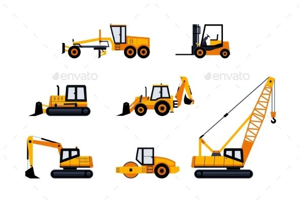 Construction Vehicles ¨C modern vector flat design icon set.