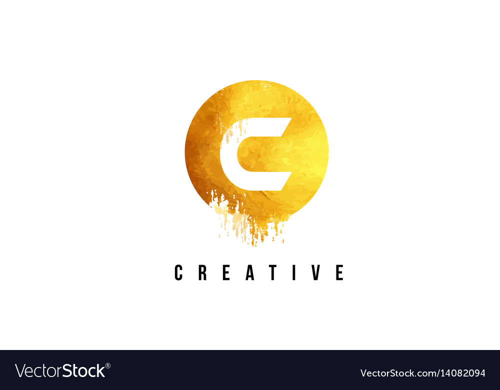 C gold letter logo design with round circular.
