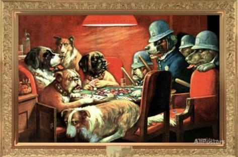 Dogsdogs playing poker.
