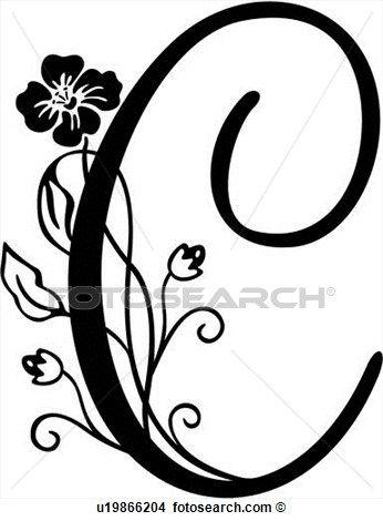 Alfabeto, c, capital, monogram, manuscrito, lettered, Clipart.
