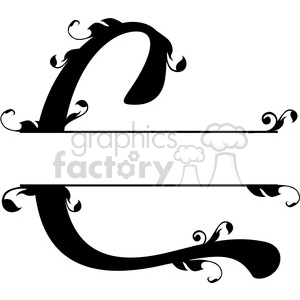 split regal c monogram vector design clipart. Royalty.