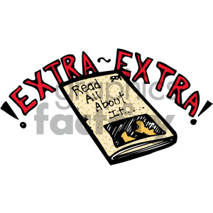extra extra newspaper 007 c clipart. Royalty.