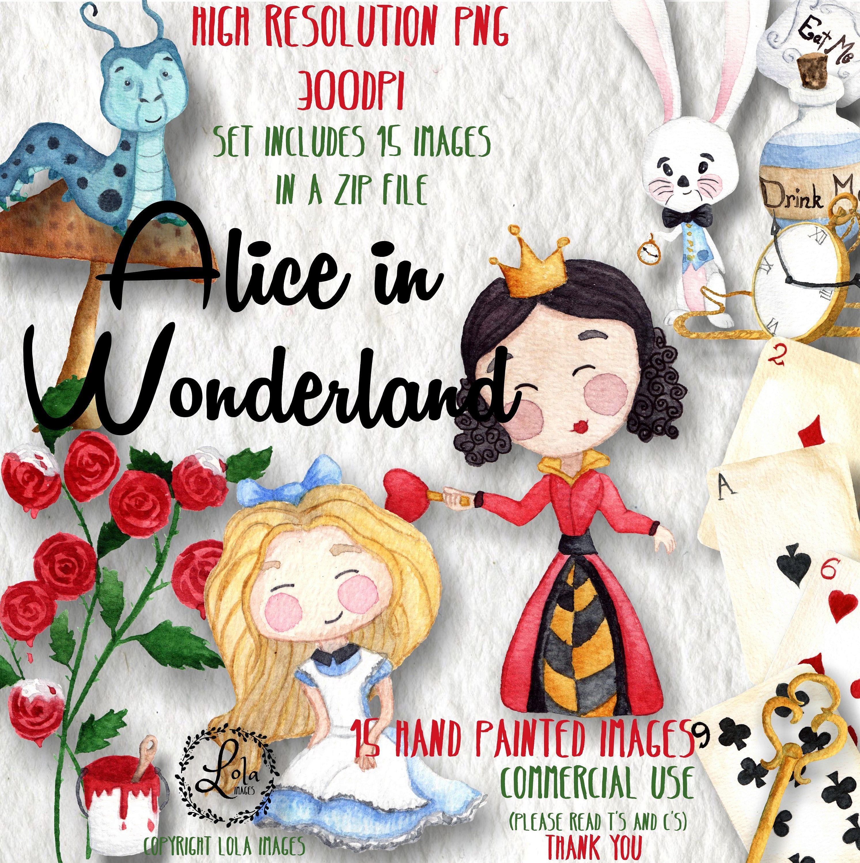 Alice in Wonderland Clipart Watercolor Alice Adventures Tea.