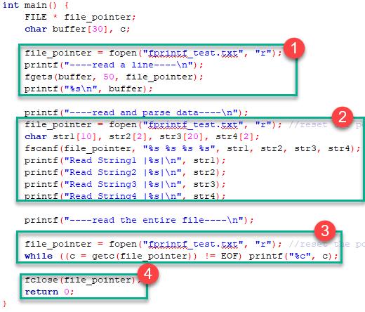C Files I/O: Create, Open, Read, Write and Close a File.