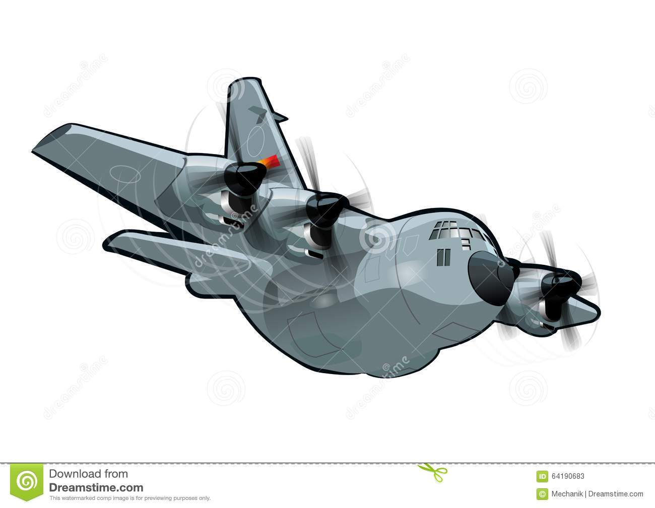 Cartoon Military Cargo Plane C.