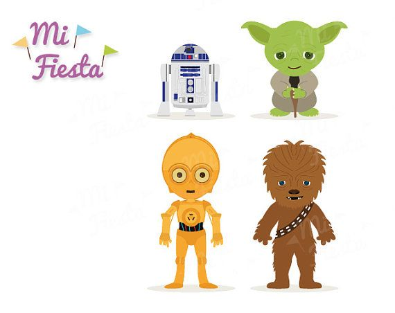 Star Wars Inspired Chewbacca, C3P0, R2D2 and Yoda Clipart.
