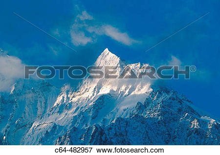 Picture of Mountain peak. The Himalayas. Nepal c64.
