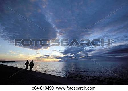 Stock Photography of Sunset at Visby, Gotland island, Baltic Sea.
