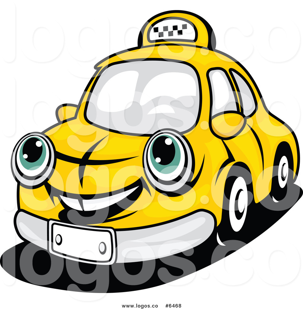 Royalty Free Clip Art Vector Logo of a Happy Yellow Taxi by Vector.