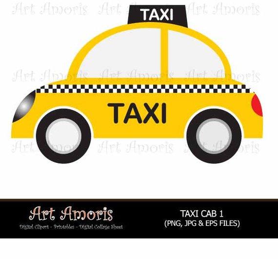 New York Taxi Cab, Cars, Yellow Car, Vehicle, Clipart, Digital Clip.