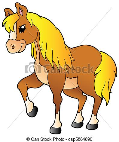 Vector Clipart of Cartoon walking horse.