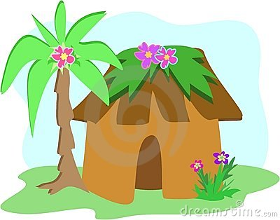 Palm tree hut clipart.