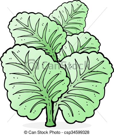 Vector Illustration of cartoon cabbage leaves csp34599328.
