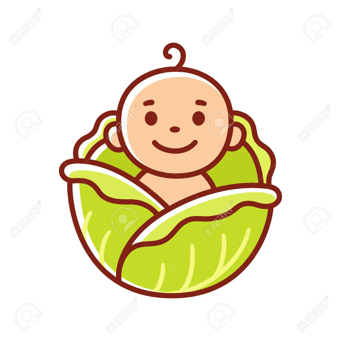 Cute cartoon baby found in cabbage patch. Funny explanation where...