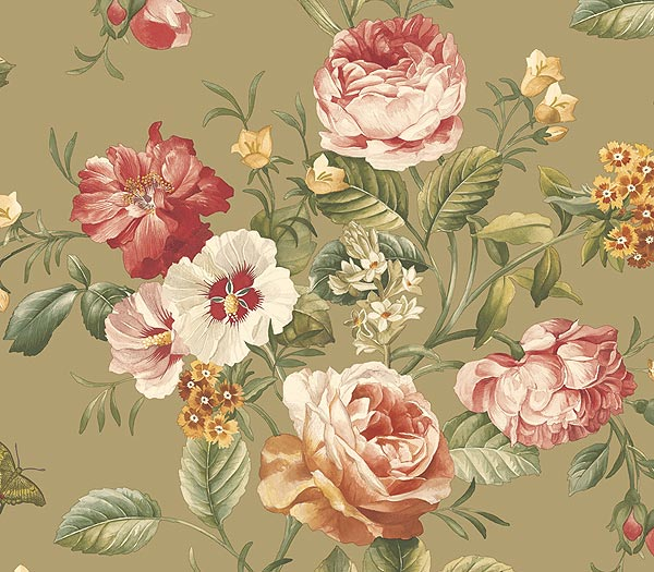 Cabbage rose print clipart.