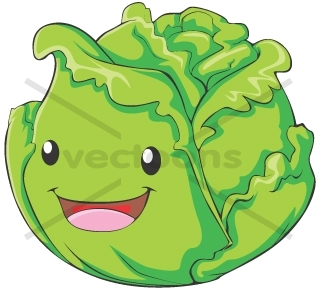 Happy CABBAGE Cartoon.