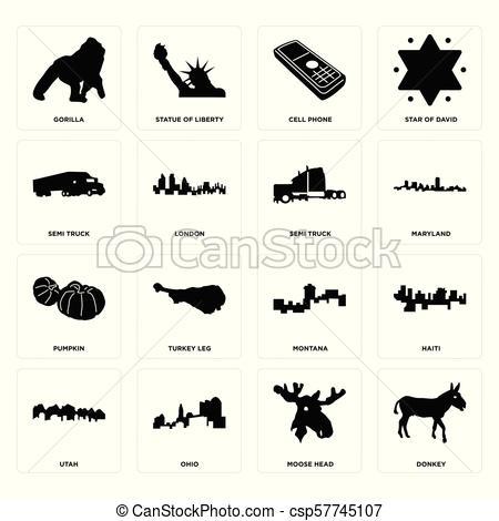 Un juego de burros, cabezas de alce, utah, montana, calabaza.