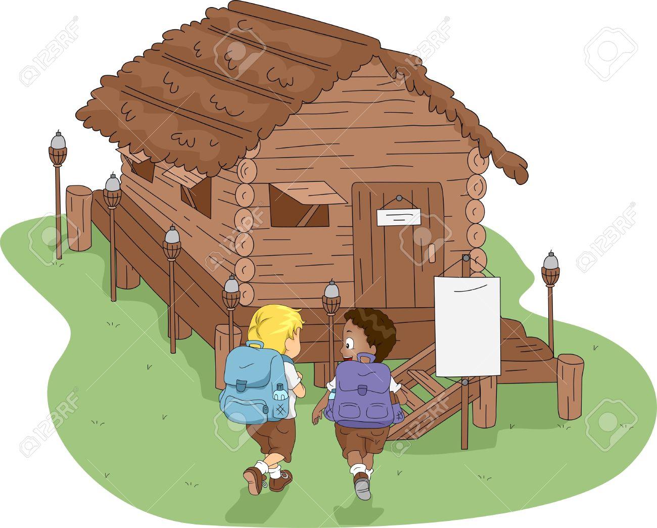 Christmas log cabin clipart.