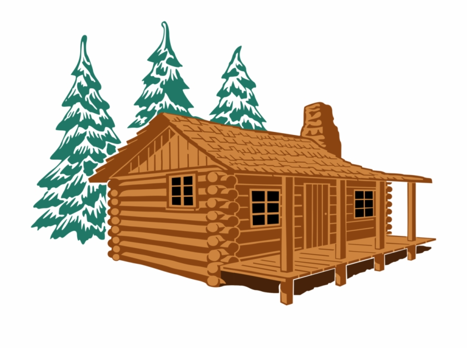 Log Cabin House Cottage Rustic Cartoon.