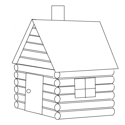 Clip Art Black And White Log Cabin Clipart.