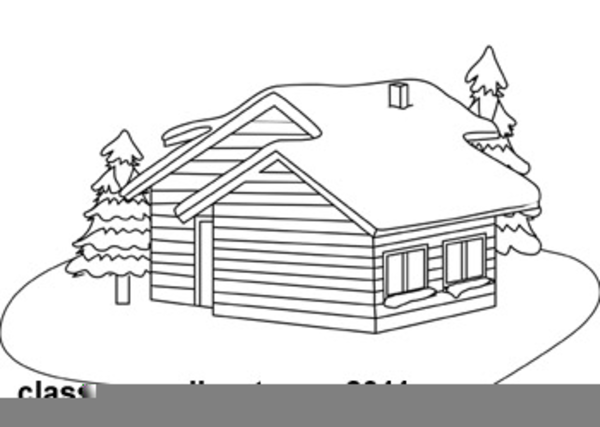 Black And White Cabin Clipart.
