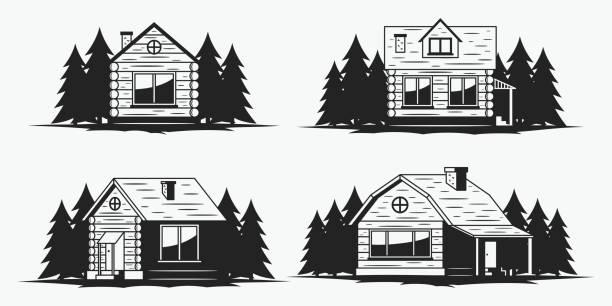 Best Log Cabin Illustrations, Royalty.