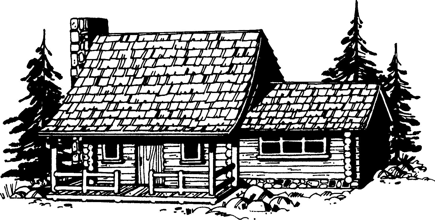 Log cabin clip art black and white clipartfest.
