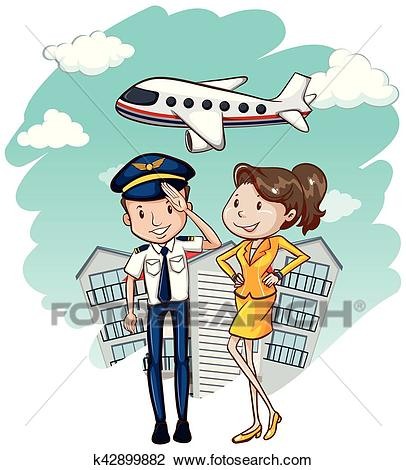 Cabin crew working in airline Clipart.