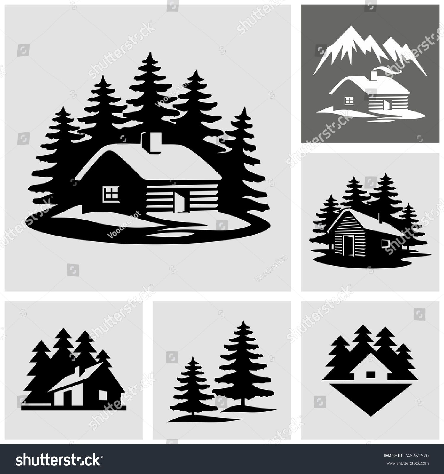 Log cabin in the woods vector icon.