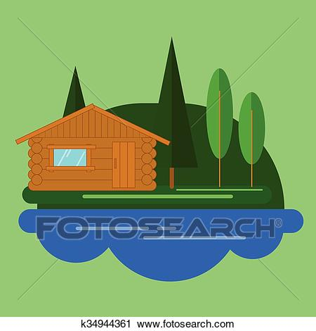 Cabin in the woods Clipart.