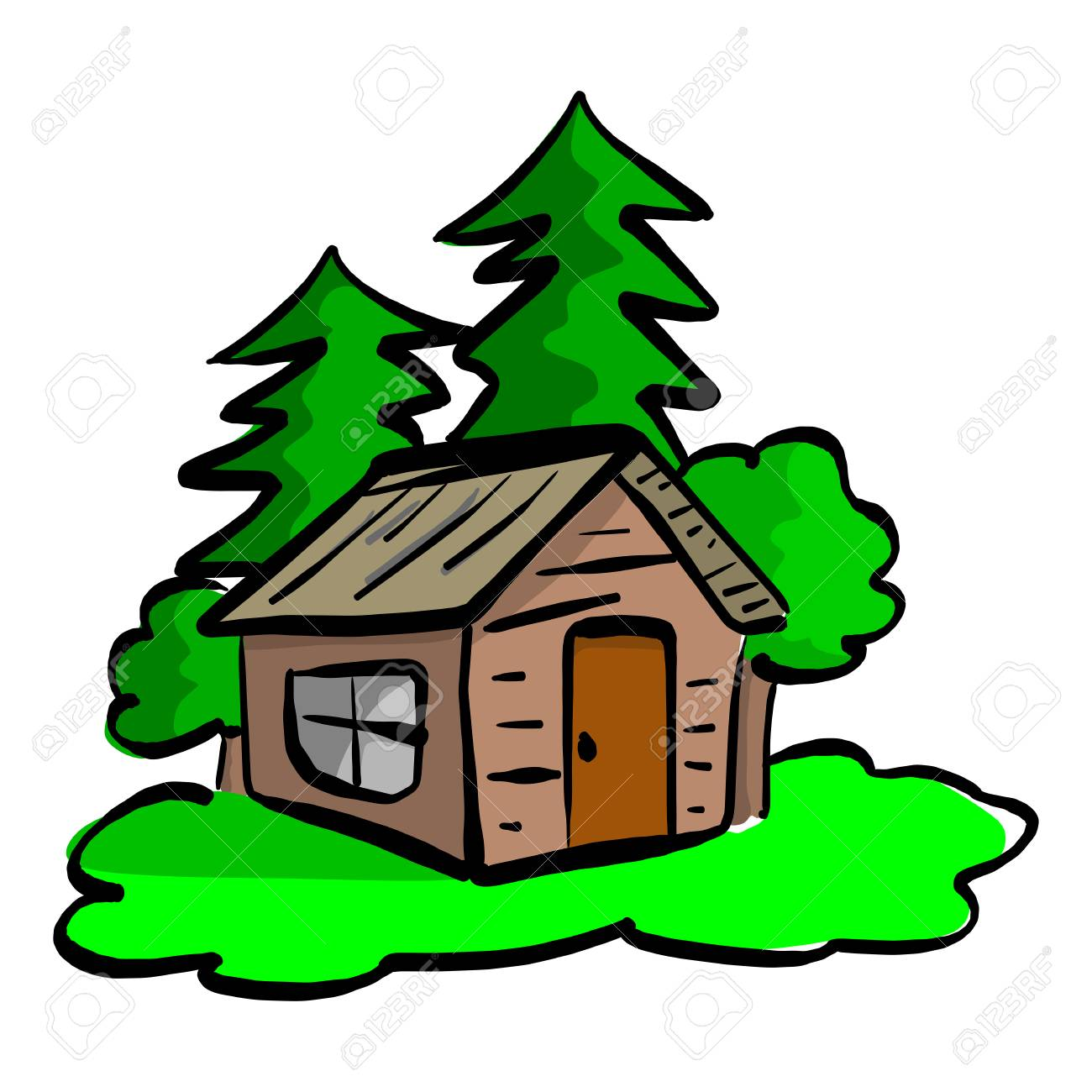 wooden cabin in the woods vector illustration sketch hand drawn...