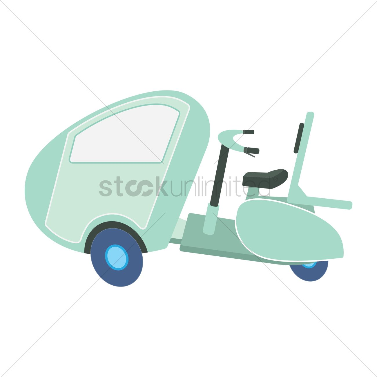 Free Scooter with cabin Vector Image.