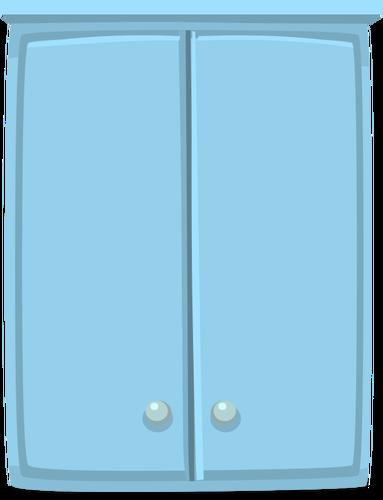 Blue cabinet.