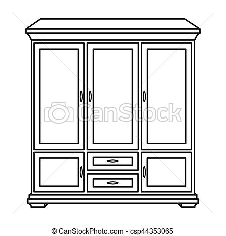 Classical cupboard icon in outline style isolated on white background.  Furniture and home interior symbol stock bitmap, rastr illustration..