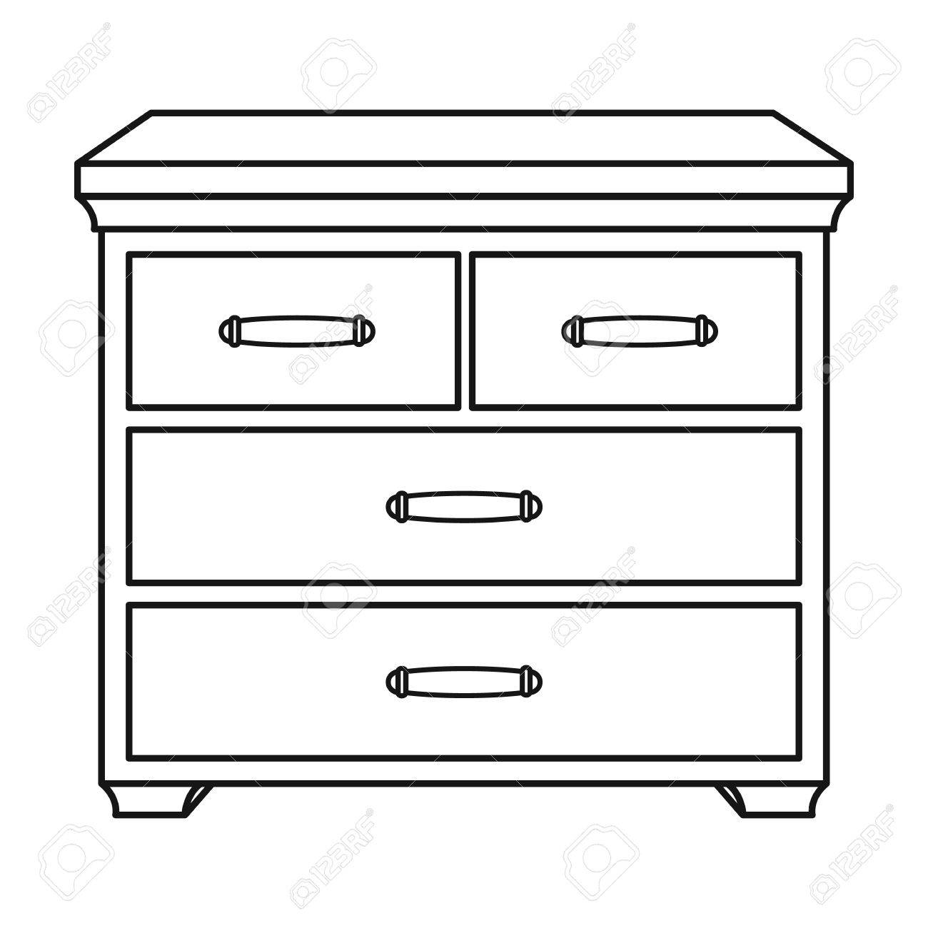 Wooden cabinet with drawers icon in outline style isolated on...