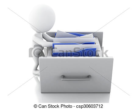 Clipart of 3d White people examines File cabinet..
